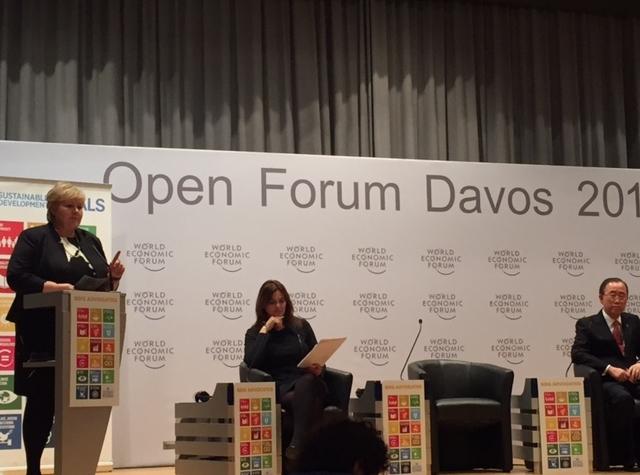 Foto: Erna Solberg i Davos 2016. (Statsministerens kontor)